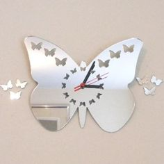 Acrylic BUTTERFLIES DIAL BUTTERFLY Mirror Clocks