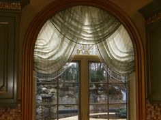 Arched Windows+curtains Design Ideas, Pictures, Remodel, and Decor - page 2 Arched Window Coverings, Curtains For Arched Windows, Window Curtains, Arch Windows, Window Panels, Kitchen New York, Curtain Designs, Curtain Ideas, Valance Ideas