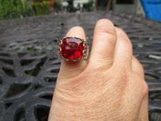 Gems en Vogue Ekaterina Brazilian Ruby Quartz Doublet Ring Sterling 18K Pallad. #GemsenVogueII