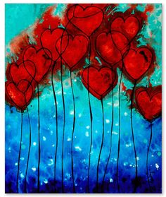 Romantic Heart Art PRINT Hearts On Fire Love Red And Blue Flower Gift Painting Abstract Canvas Romance Lovers Wedding Engagement Anniversary...