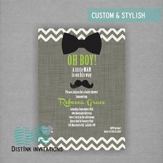 Little Man Baby Shower Invitation Bowties Digital File. Printed Invites Available, DistInk Designs - www.distinkdesign... or DistInk Designs on Facebook