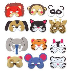 Black Friday 12 Assorted Foam Animal Masks for Birthday Party Favors or Dress-up Costumes from Rhode Island Novelty Cyber Monday Party Animals, Animal Party, Zoo Birthday, Animal Birthday, Rhode Island Novelty, Safari Theme, Jungle Safari, Jungle Party, Dress Up Costumes