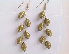 Olive green and gold paper bead earrings