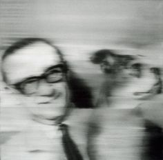 Gerhard Richter, Sammler mit Hund (Collector with Dog) 1966, 90 cm x 90 cm, Oil on canvas