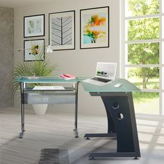 This elegant yet heavy-duty Techni Mobili L-Shape Glass Computer Desk features tempered safety glass measuring thick. The desk is also configurable so you can set it up to make you as productive as possible. Glass Top Desk, Top Computer, Contemporary Desk, Home Office Decor, Home Decor, Office Desk, Workspace Inspiration, Safety Glass, Mdf Wood