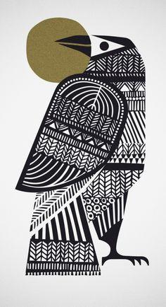 Block print, linocut folk art style bird illustration vintage feel poster print