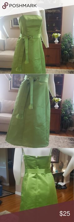 Super cute WTOO by Waters and Waters dress Lime green WTOO dressy dress! Size 4, zipper back with hook and eye closure, lined (lime green also), spaghetti straps, cute belt to match. belt has a fringe detail on ends. very small stains on back of dress (see pics) might come out w dry cleaning, hasnt been dry cleaned yet. Wtoo Dresses Midi