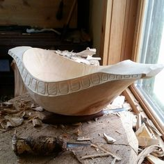 Awesome hewn bowl with side panels by Derek Sanderson.