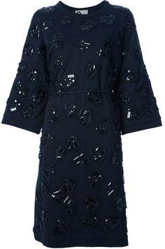 LANVIN Embellished Kimono Sleeve Dress - Lyst