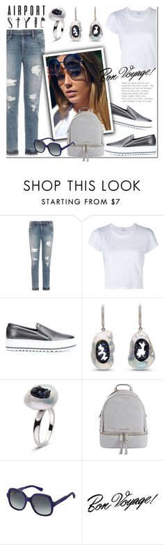 """""""Get the Look: Airport Style"""" by littlehjewelry ❤ liked on Polyvore featuring Joe's Jeans, RE/DONE, Brunello Cucinelli, MICHAEL Michael Kors, Marc Jacobs, GetTheLook, contestentry, airportstyle, pearljewelry and littlehjewelry"""