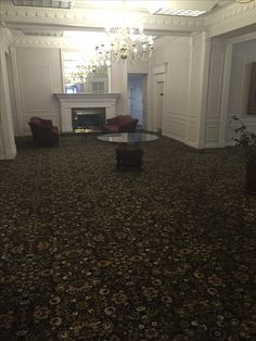 Hollander Investments Lobby in Bellingham, WA with Aqua Dye Injected Custom Carpet Pattern