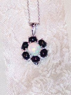 Opal Flower Necklace White & Black Opals in by NorthCoastCottage