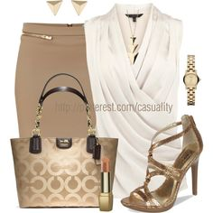 Classy Work Outfit - LOVE the gold strappy sandals!