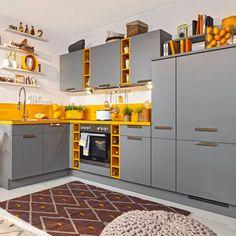 Eckküche Laser Grau/Gelb online kaufen ➤ mömax Kitchen Cabinets, Home Decor, Refrigerator Freezer, Grey Yellow, Exhaust Hood, Closet Storage, Ad Home, Interior Design, Home Interior Design