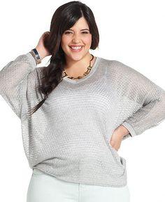 Soprano Plus Size Sweater, Three-Quarter-Sleeve Metallic - Junior Plus Size - Plus Sizes - Macy's