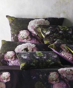 A range of collectable cushions from new designers - Boho Co - with sumptuous velvet prints of overblown peonies flowing tulips and irises