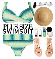 """""""Stylish Curves: Swimwear Edition"""" by oshint ❤ liked on Polyvore featuring Ancient Greek Sandals, Bobbi Brown Cosmetics, Flora Bella, Yves Saint Laurent, Jaeger, stylishcurves and plussizeswimsuit"""