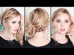 New Year's eve hairstyles 2016 for medium long hair tutorial ❤ Braided curly holiday updo - YouTube