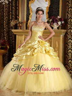 wholesale yellow ball gown floor-length taffeta and tulle beading quinceanera dress