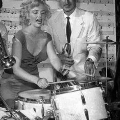 Marilyn plays the drums