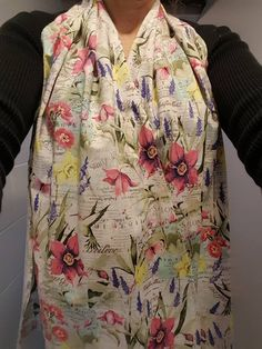 Dining Scarf Adult Bib Alternative  Pretty Floral With Hummingbirds On  Cream For Eating Out Or In. Protects Drips U0026 Spills With Dignity By  ByGrammau2026