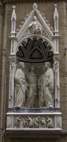 'Quattro Santi Coronati (Four Saints),' c.1415-1417; Nanni di Banco, c. 1384 – 1421; Orsanmichele Church, Florence, Italy. These four early Christians were sculptors martyred by the Roman emperor Diocletian because they refused to sculpt pagan gods. They seem to be contemplating the consequences of the fatal decision they're about to make.
