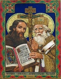 Saints Cyril and Methodius. Lithography. By 1941 Author - outstanding Czech painter Jano Kolyer (1873-1941).