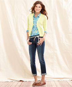 Tommy Hilfiger Cardigan & Skinny Cuffed Jeans - Womens - Macy's