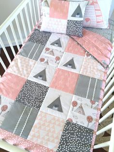 Little Teepee Patchwork Cot Quilt pink by AlphabetMonkey on Etsy