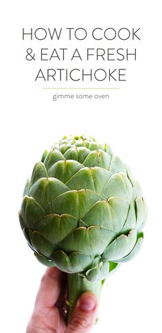 a step-by-step video tutorial for how to cook (steam) & eat a fresh artichoke. plus, a simple recipe for a yummy lemon butter dipping sauce! canned artichoke hearts ain't got nothin' on this! Fresh Artichoke Recipe, Roasted Artichoke, Artichoke Ideas, Artichoke Hearts, Healthy Recipes, Vegetarian Recipes, Easy Recipes, Vitamin C, Zucchini