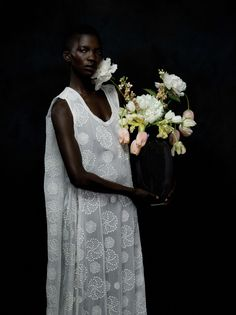 Figure with Flowers.' Achok Majak by Justin Bridges for Totokaelo Black Is Beautiful, Beautiful People, Afro, Cape Gown, Wedding Inspiration, Style Inspiration, Ann Demeulemeester, Silhouette, Bridal Style