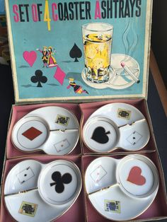 G C Japan Vintage Poker Coasters, Glass Holders and Cigarette Ashtrays, Diamond Heart Spade Club Cards Japanese Fine China Plates, 1950s by CupandOwl on Etsy