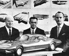 Mitchell with Jack Humbert who was THE  best designer !and also a great guy, and Chuck Jordan . Pontiac Studio 1960s My exgaduated sketches in background.