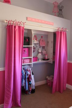 Create a display area. If your child's closet has some spare room, why not create a boutique store display area? This will not only house the dress- up mess, but will inspire creative play too.