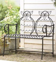 Join the owls for a nice afternoon in the garden! Iron Owl Garden Bench at Wind…