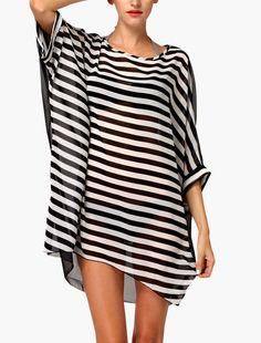 COPRI COSTUME TUNICA MARE STRISCE, Split Color Stripes Cover Up Tunic