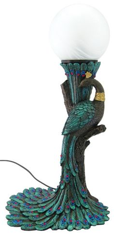Art Nouveau / Art Deco Peacock Lamp