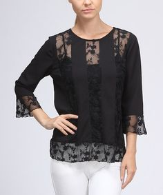 Take a look at this Black Lace Stripe Top - Women by FATE on #zulily today! Why does black lace or really black anything never go out of style!