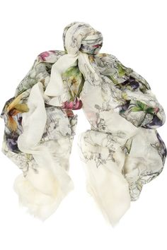 Gucci Floral-print cashmere and wool-gauze scarf Pañuelos Cuello 207be5e579e