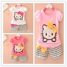 Baby girls clothing set kids cartoon clothes set for girls high quality cotton short sleeve + short pants US $8.00 - 10.00