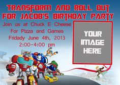 Transformer Rescue Bots Birthday Invitation