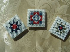Cross Stitch MagnetsQuilt SquaresSet of 3 by WitsEndDesign on Etsy, $10.00