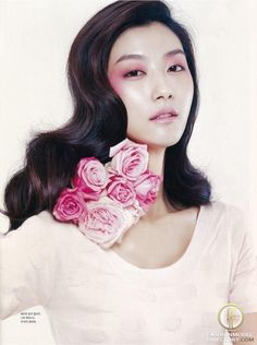 """Ji Hye Park featured in the Marie Claire Maison Korea editorial """"Blooming Pink"""" from March 2012"""