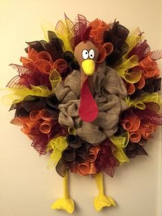 Sil's turkey mesh & burlap wreath