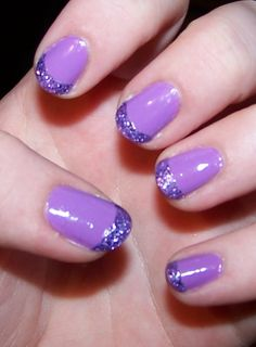 """Essie """"Play date"""" purple with Milani """"Lavender Fizz"""" french tip."""