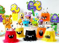 Host a Monster Party this Halloween and serve brightly colored Monster Cupcakes and Monster Mousse Cups. See the tutorial at HungryHappenings.com.