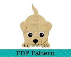 Puppy Dog Applique Pattern, PDF Template, Applique Designs, Baby | AngelLeaDesigns - Craft Supplies on ArtFire