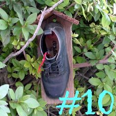 Made from old boots destined for the dump, upcycled to the coolest darn birdhouses I've ever seen. And word on the street has it that the birds love 'em!!  They never want to leave!  They want to stay in their little boot and 'nest'!  Created by a thoughtful etsy seller who will include the story behind the boot if you wish to include it with your gift of this birdhouse.  More birdhouse ideas here
