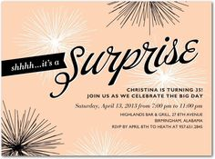 Sparkles of Surprise - Adult Birthday Party Invitations in Fresco Cream or Fog | Stacey Day