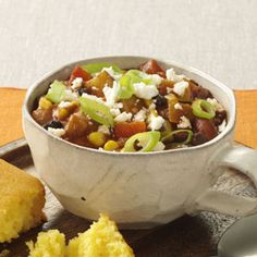 Recipe -I combine ingredients for this hearty chili the night before, start my trusty slow cooker in the morning and come home to a rich, spicy meal at night! Spicy Recipes, Chili Recipes, Slow Cooker Recipes, Crockpot Recipes, Healthy Recipes, Easy Recipes, Soup Recipes, Crock Pot Cooking, Cooking Tips